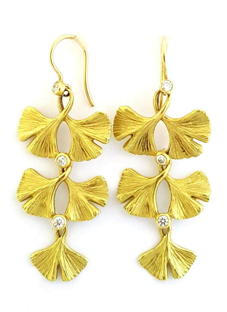 Triple Tiered Gingko Earring