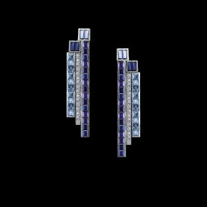 Masterpiece earrings in platinum with sapphires and diamonds