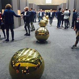 Gold Orbs in a hallway at Gold Italy 2017 in Arezzo
