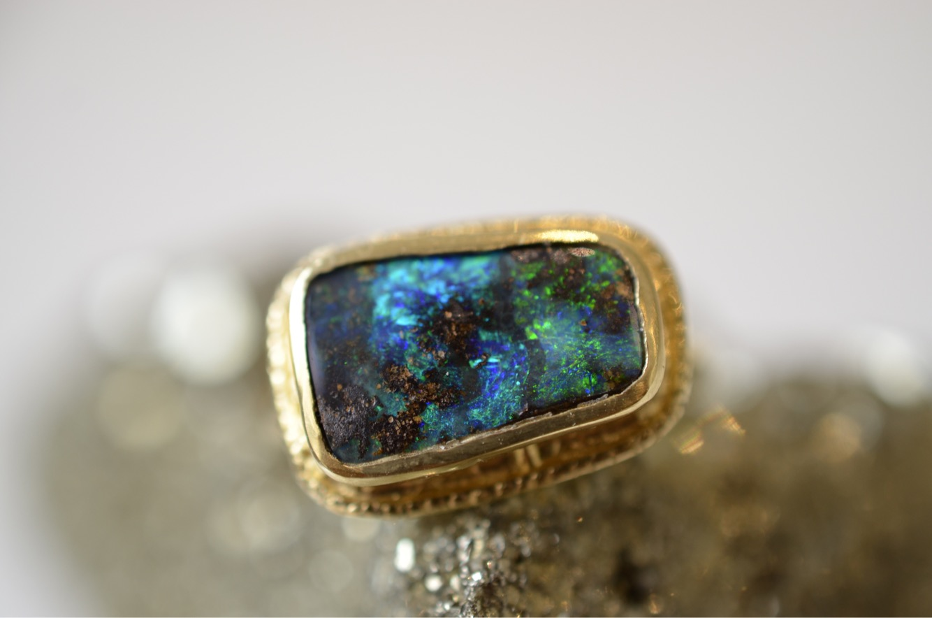 Azure Ring with Australian boulder opal