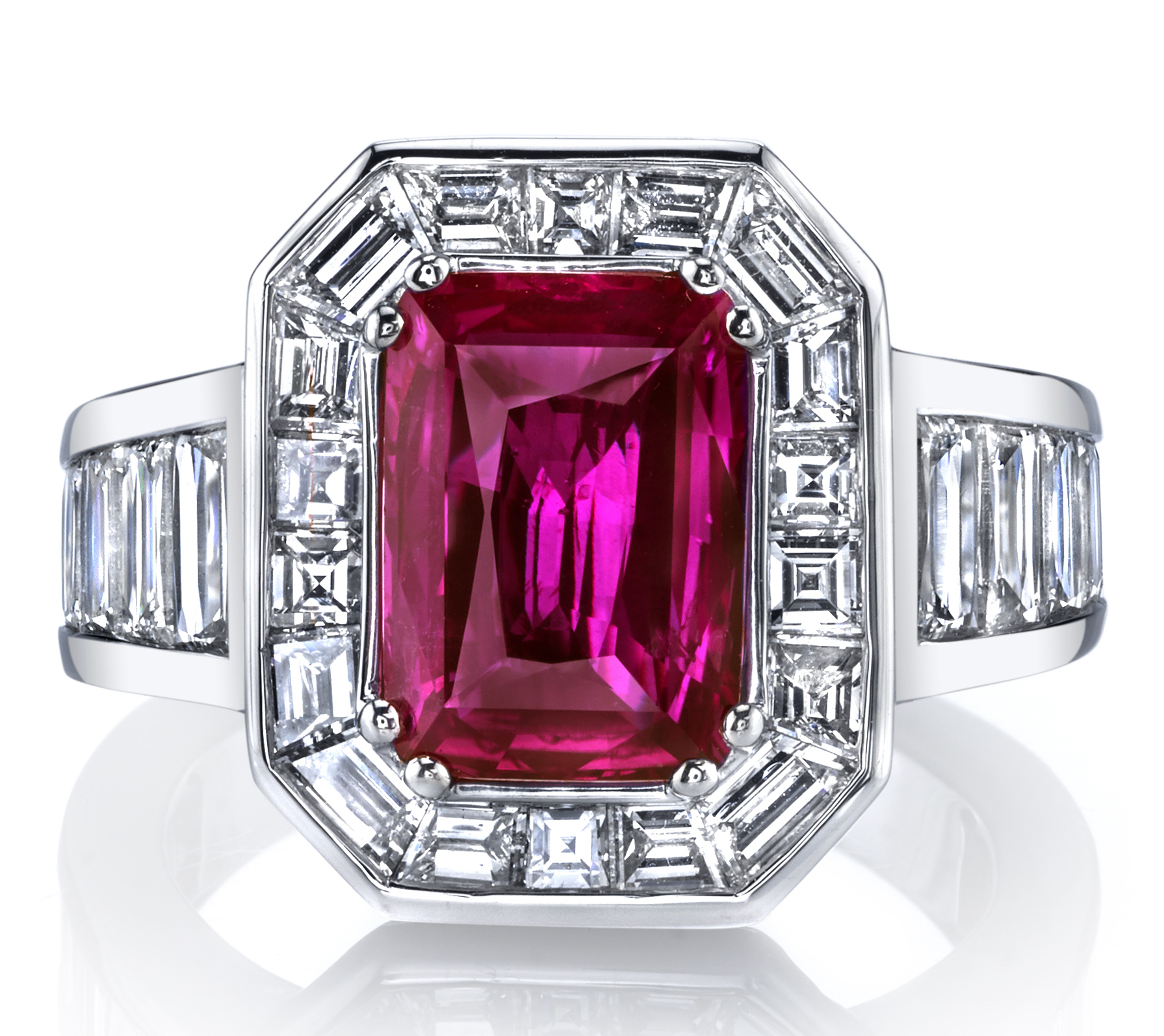 Joshua J emerald-cut pink sapphire ring | JCK On Your Market