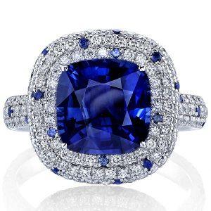 Joshua J cushion sapphire ring