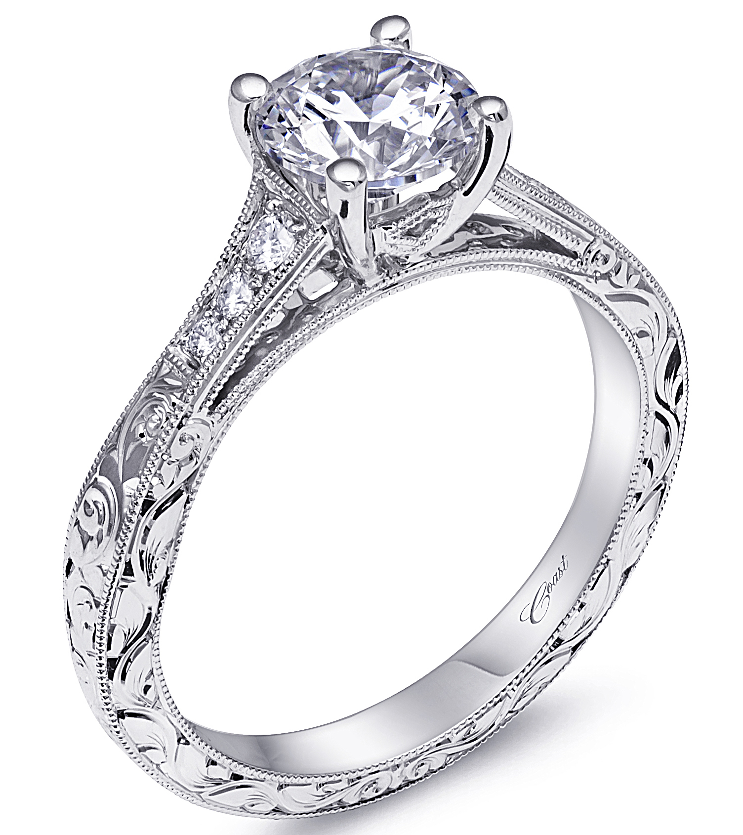 Coast Diamond etched band engagement ring | JCK On Your Market