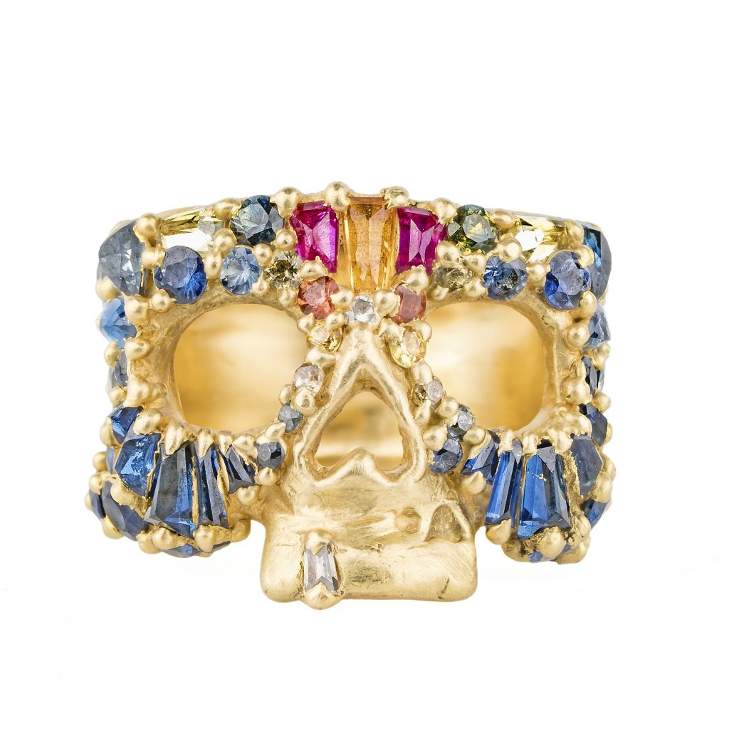 Skull Ring with diamond tooth