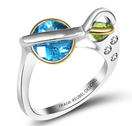 Frank Reubel blue topaz and peridot ring | JCK On Your Market