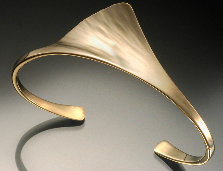 Gingko Cuff in hand forged yellow gold