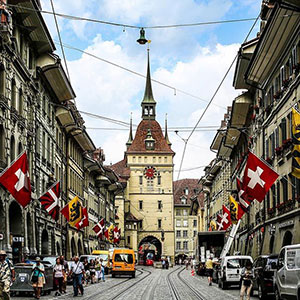 Swiss street with flags