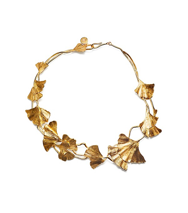 Ginkgo Leaf Short Necklace in molded brass