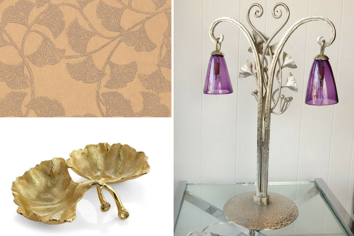 Thibaut wallpaper and art nouveau lamp and Michael Aram dish
