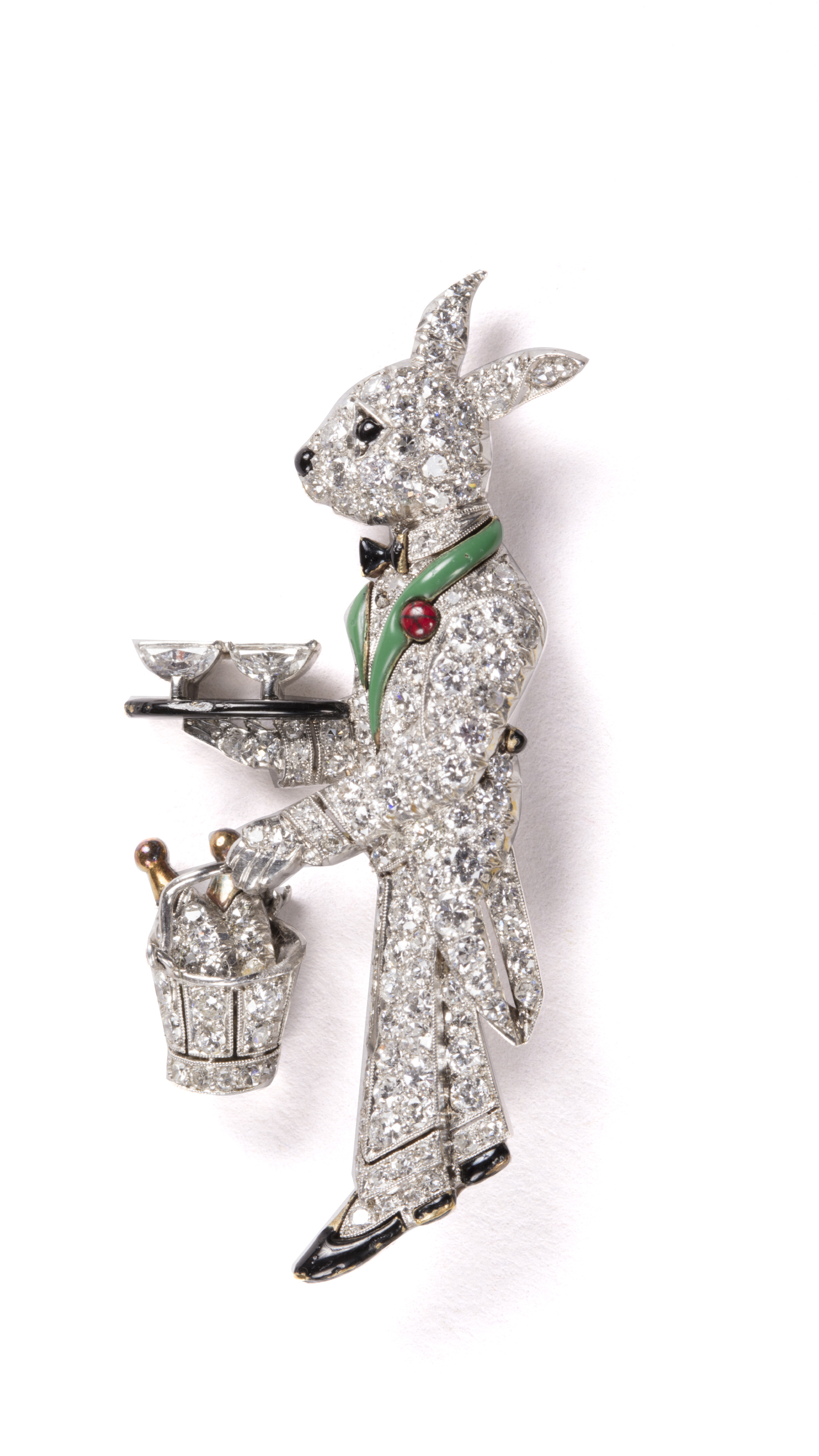 Rabbit brooch with diamonds