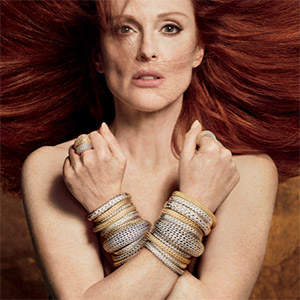 Julianne Moore with arms crossed wearing John Hardy bracelets
