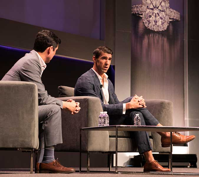 Chris Stone with Michael Phelps at HOFU