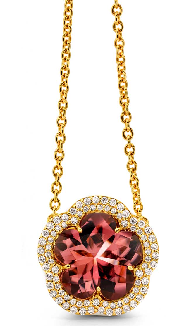 Buddha Mama rose tourmaline necklace
