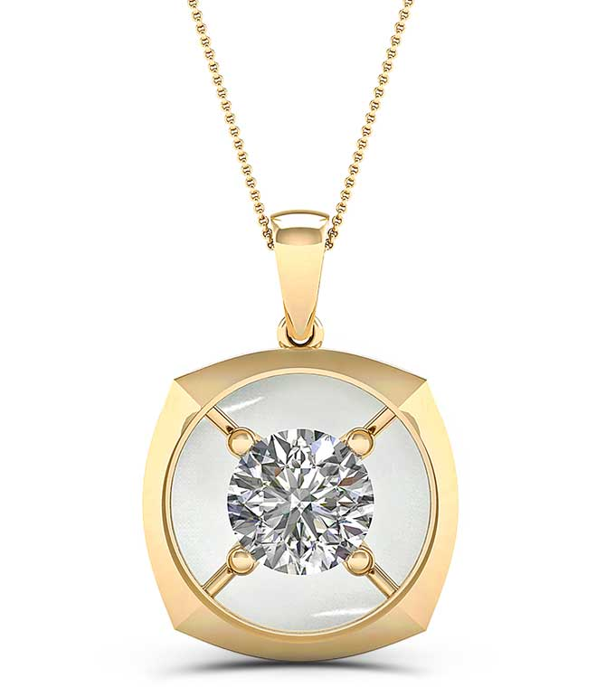 Magnificence 14 karat gold and diamond pendant