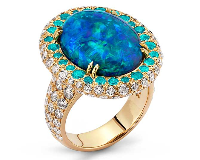 Pamela Huizenga oval black opal ring