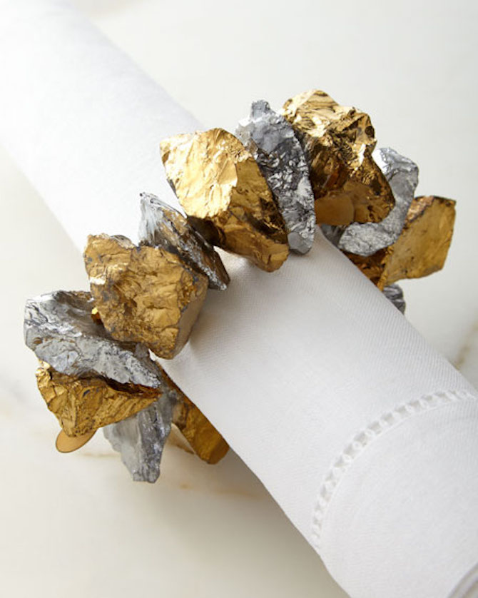 9 Joseph Williams Crystal Nugget Napkin Ring