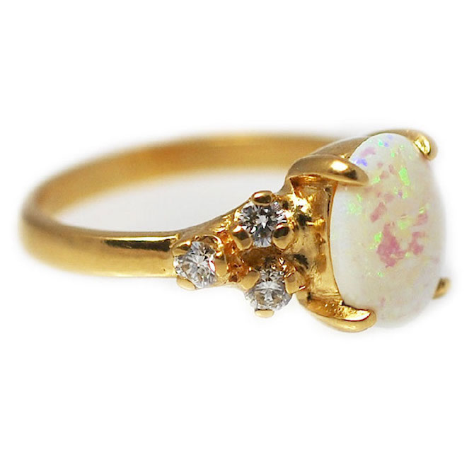 Abby Sparks handmade engagement ring yellow gold opal diamond gabbi