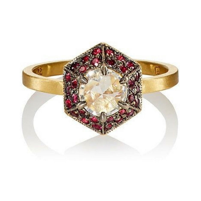 Cathy Waterman 22k gold ruby and diamond ring
