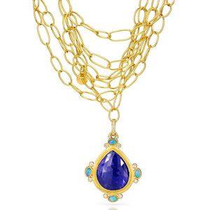 Stephanie Albertson 22k gold tanzanite pendant