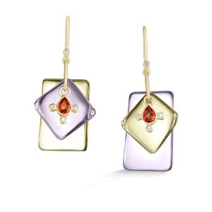 Loriann Jewelry Earrings with citrine Rose de France amethyst and orange sapphire in 14k Gold