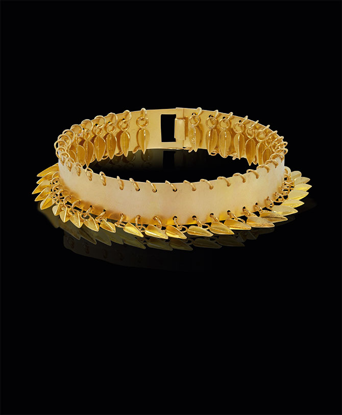 gold beechnut bangle by Loren Nicole