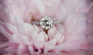 vintage mine cut engagement ring