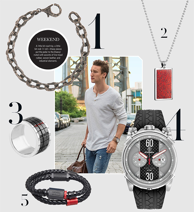 weekend appropriate jewelry and watches for men