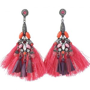 Badgley Mischka pink fringe earrings