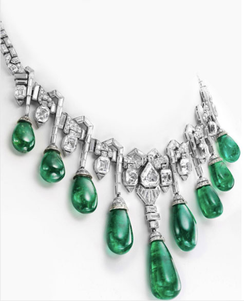 Van Cleef and Arpels emerald diamond necklace