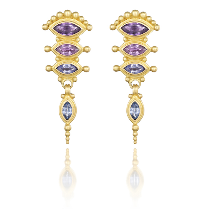 Reinstein Ross earrings with purple and blue sapphires