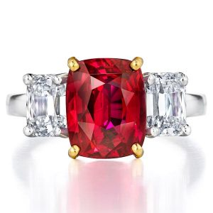Three Stone Oscar Heyman ruby ring