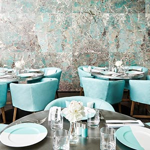Tiffany Blue Box Cafe interior with table setting