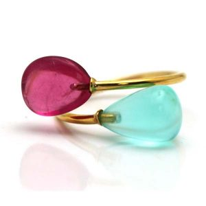 Tresor tourmaline and opal ring