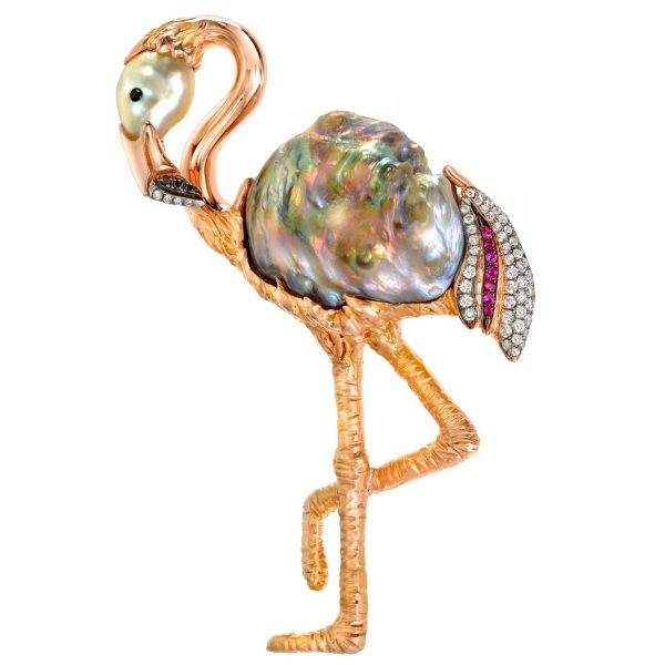 A and Z Pearls flamingo brooch