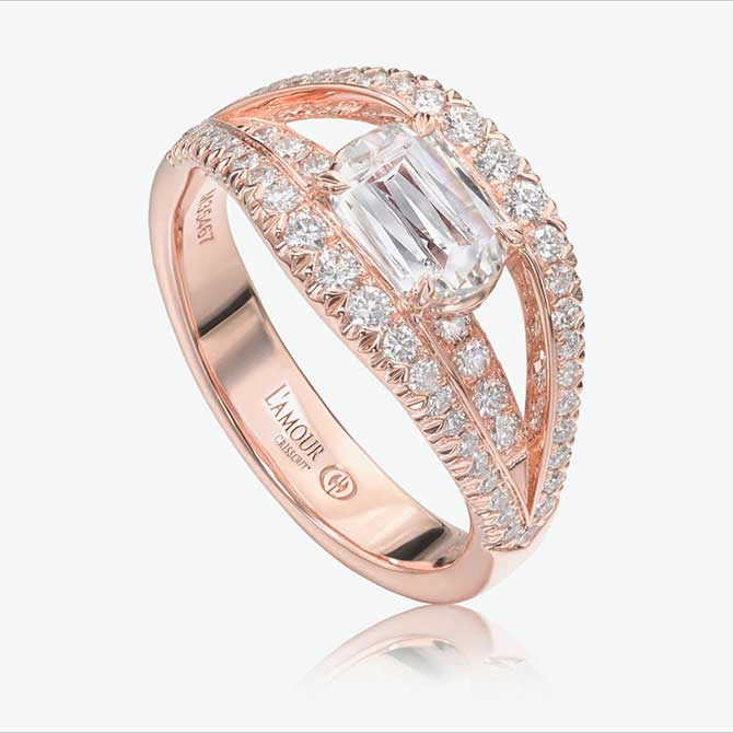 Christopher Designs East West Ring Rose gold