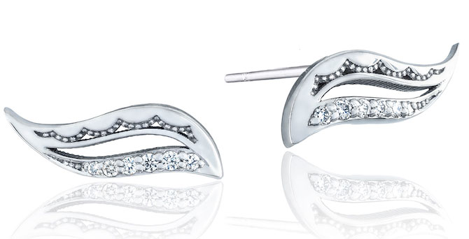 Tacori Crescent Cove petite wavelet silver earrings