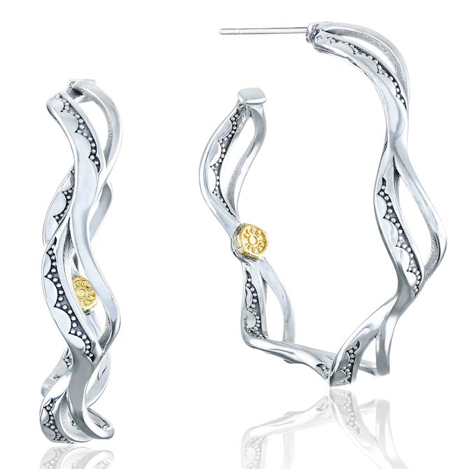 Tacori Crescent Cove silver wave hoop earrings