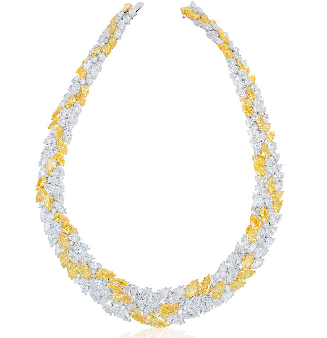 David Mor yellow and white diamond necklace