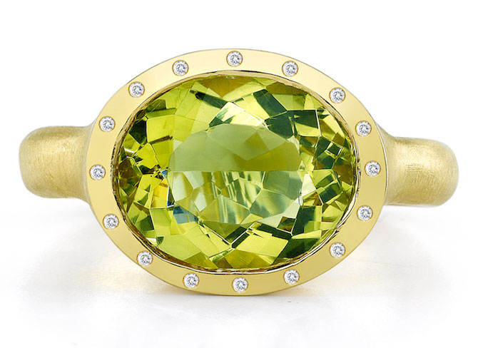 Dorian and Rose green beryl ring
