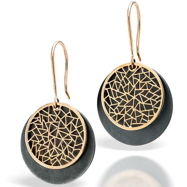 Baiyang Qiu two tone drop earrings