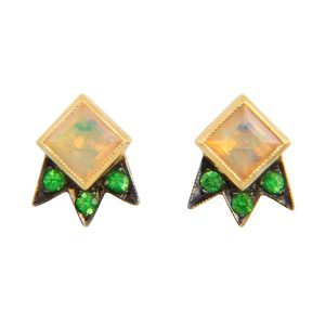 Earrings Starburst Opal Tsavorite M Spalten