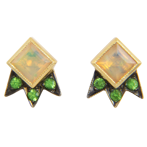 M. Spalten Starburst opal and tsavorite earrings | JCK On Your Market