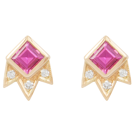 M. Spalten Starburst pink sapphire earrings | JCK On Your Market