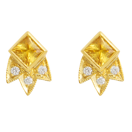 M. Spalten Starburst yellow sapphire earrings | JCK On Your Market