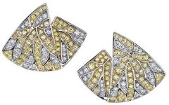 Butani Earrings in 18k white gold with yellow and white diamonds