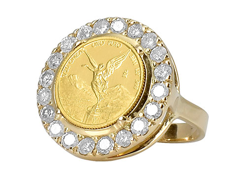 Eduardo Sanchez gold and diamond coin ring