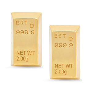 Established Gold Bar stud earrings in 14k yellow gold