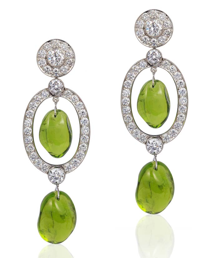 Goshwara peridot drop earrings