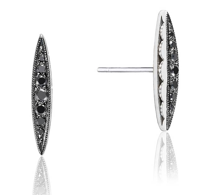 Tacori Ivy Lane black pave diamond earrings in silver