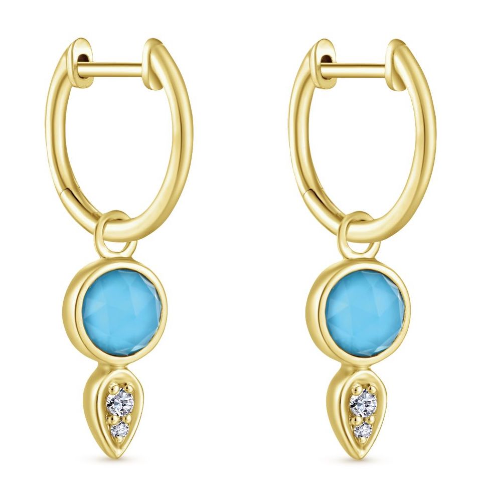 Gabriel and Co. turquoise drop hoop earrings | JCK On Your Market